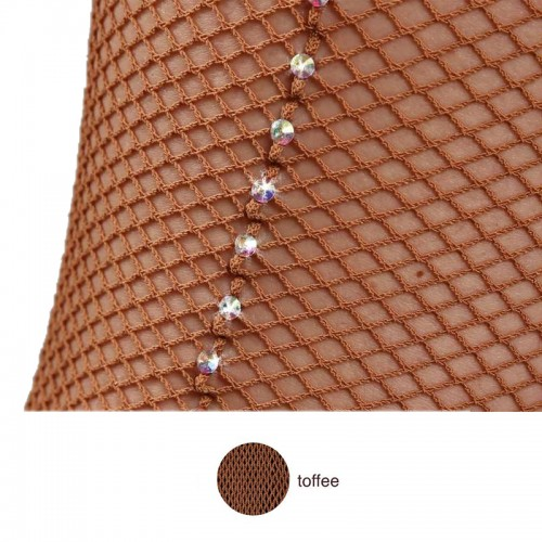 Professional Fishnet Seamless Tight With Crystal Rhinestones On Strip Of Aurora Boreal