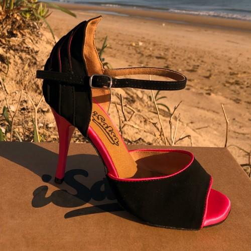Black Suede Satin Fuxia Street sole